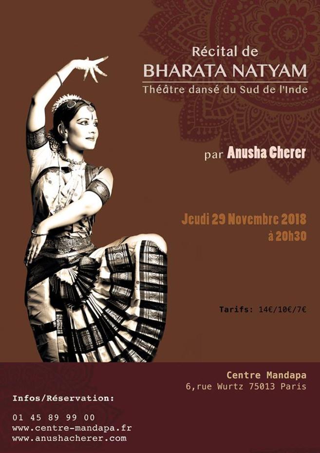 Spectacle de danse Bharata Natyam au Mandapa le 29 novembre 2018 par Anusha CHERER