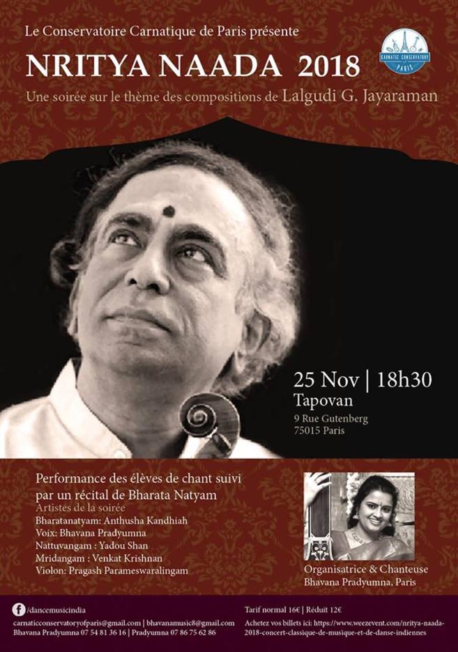 Festival de danses et de musiques carnatiques au Centre Tapovan à Paris le 25 novembre