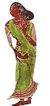 Femme portant un sari (peinture murale datant de 14 siècles avant notre ère), Lepakshi  en Andhra Pradesh