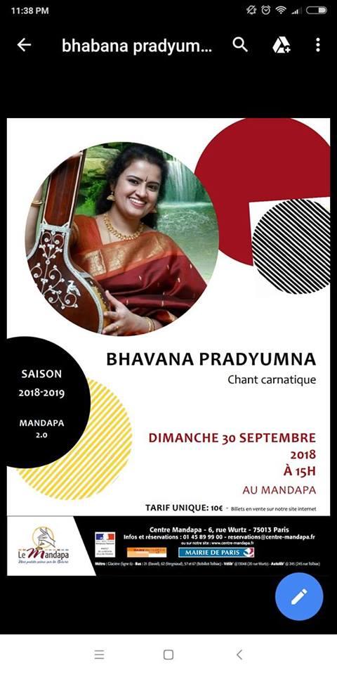 Concert de Musique Carnatique au Centre Mandapa à Paris
