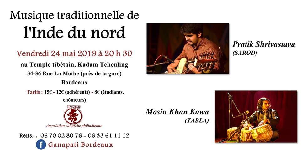 Concert de musique indienne du Nord à Bordeaux le 22 juin